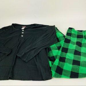 Angelina Fleece Pajama 2 Pc Set Green Black Plaid
